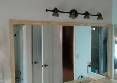 New Bathroom Mirror and Light Fixture - Before